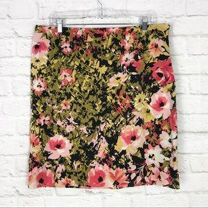 J. Jill 14 Stretch Floral Pencil Career Work Skirt